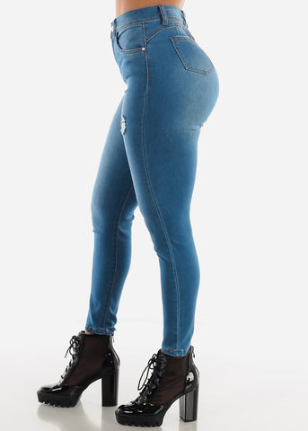 High Waisted Blue Skinny Jeans
