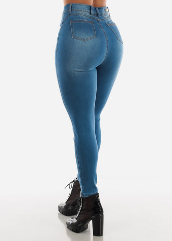 Image of High Waisted Blue Skinny Jeans