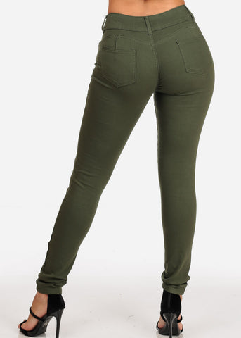 Image of Women's Junior Ladies 2 Button Mid Rise Solid Olive Super Stretchy Olive Skinny Jeans