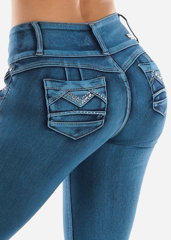 Butt Lifting Blue Skinny Jeans