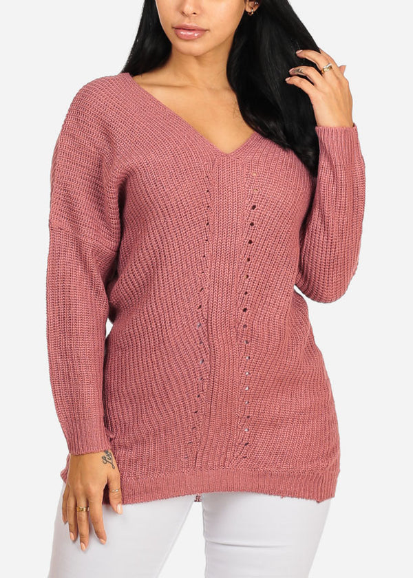 Cozy Rose Knitted V Neckline Long Sleeve Sweater Top