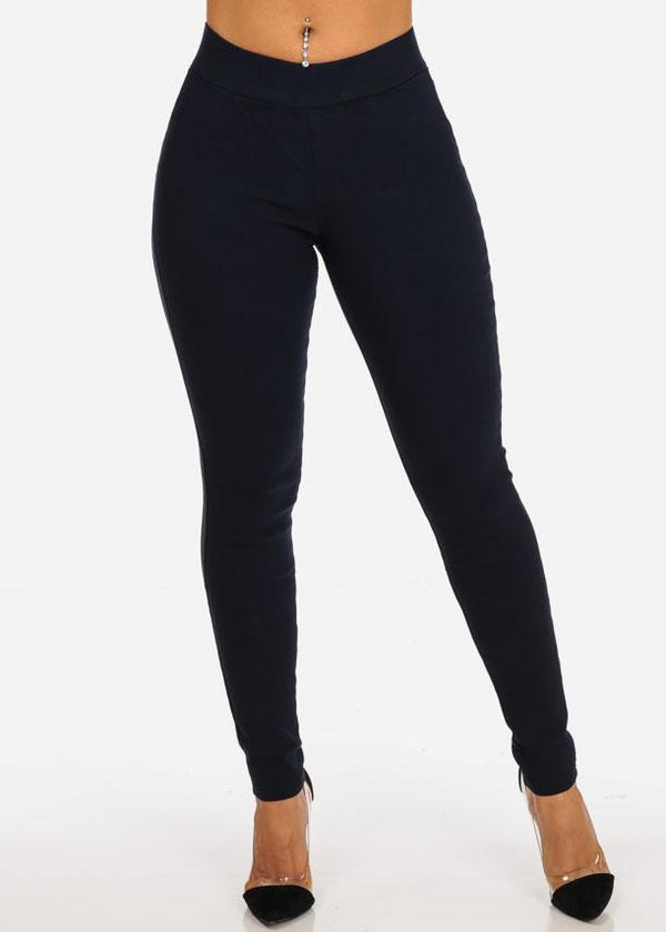 High Rise Pull On Navy Pants