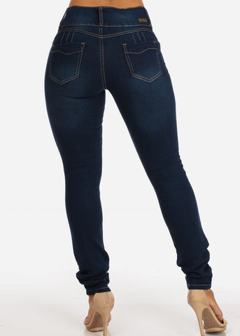 Colombian Design Med Wash 3 Button Distressed Skinny Jeans