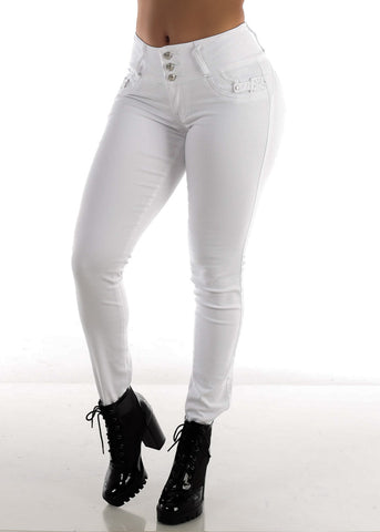Image of High Rise White Butt Lifting Skinny Jeans