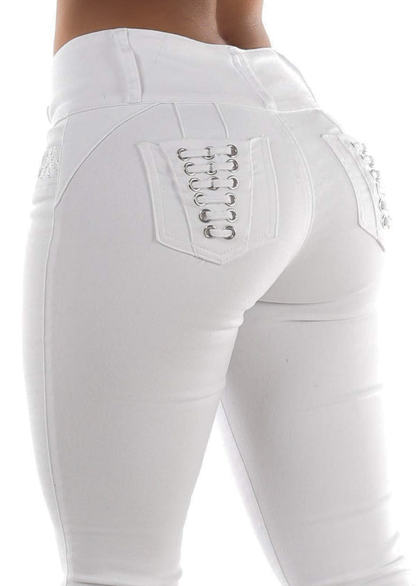 High Rise White Butt Lifting Skinny Jeans