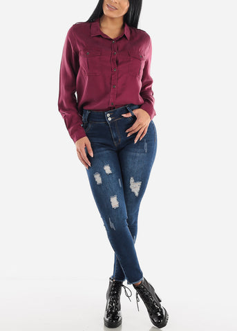 High Rise Torn Crop Jeans
