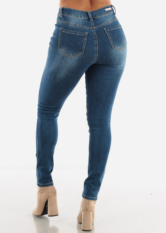 Image of Distressed Button Front Skinny Jeans