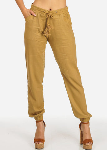Image of Khaki High Rise Linen Skinny Jogger Pants