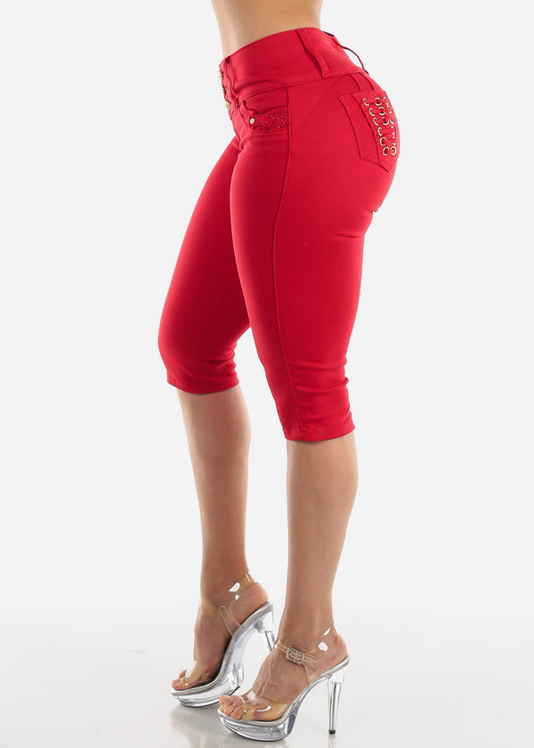 Levanta Cola Red Denim Capris