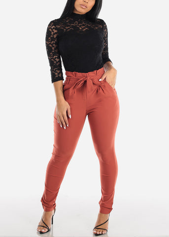 High Rise Brick Skinny Pants