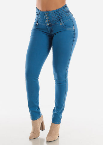 Image of High Waisted Butt lifting Blue Skinny Jeans