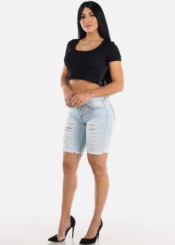 Light Wash Torn Denim Bermuda Shorts