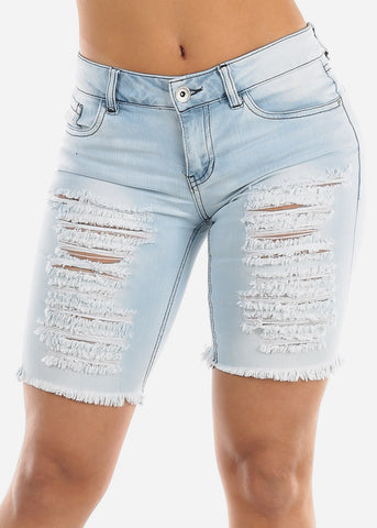 Image of Light Wash Torn Denim Bermuda Shorts