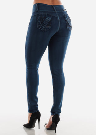 Butt Lifting Dark Wash Skinny Jeans