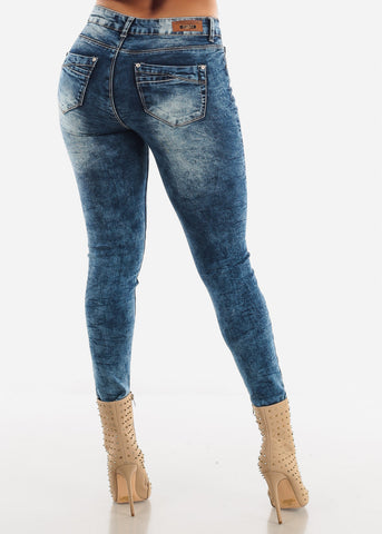 Image of High Waist Blue Jeans