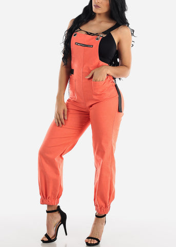 Sleeveless Orange Overall