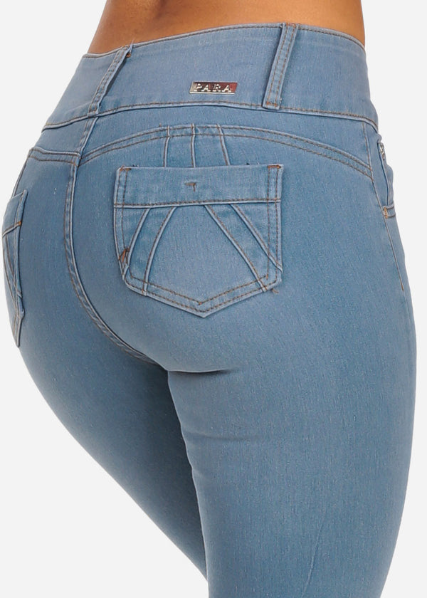 Distressed Light Wash Butt Lifting Ankle Jeans
