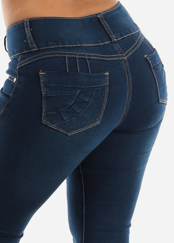 Image of Dark Wash Butt Lifting Denim Skinny Jeans