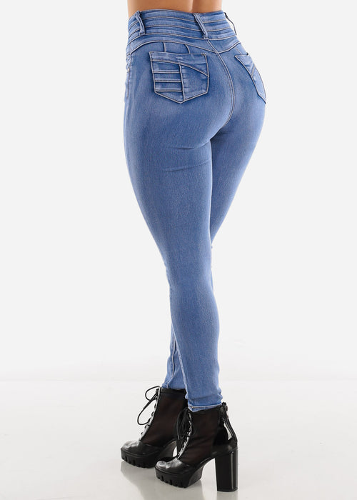 Acid Wash Butt Lift Skinny Jeans