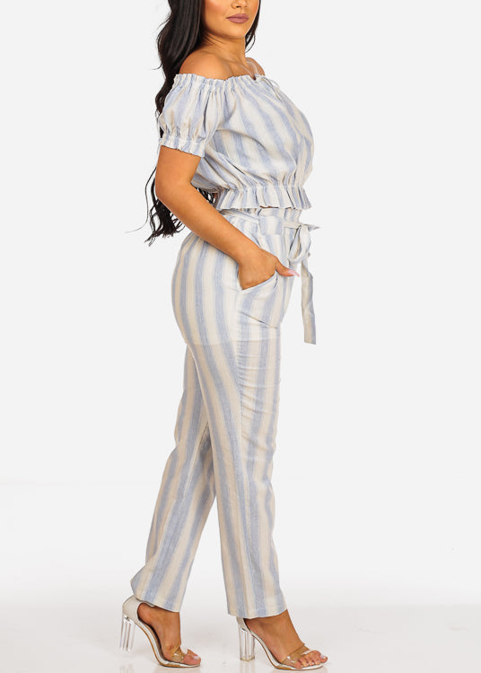 Blue Stripe Crop Top & Pants (2PCE SET)