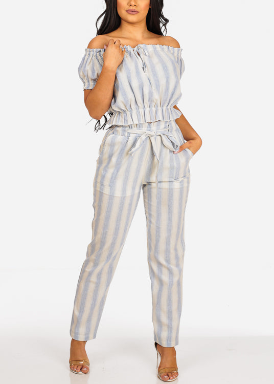 Off Shoulder Stripe Crop Top And High Rise Tie Belt Pants (2PCE SET)