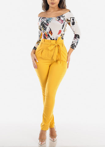 High Rise Yellow Skinny Pants