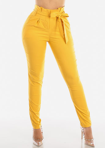 Image of High Rise Yellow Skinny Pants