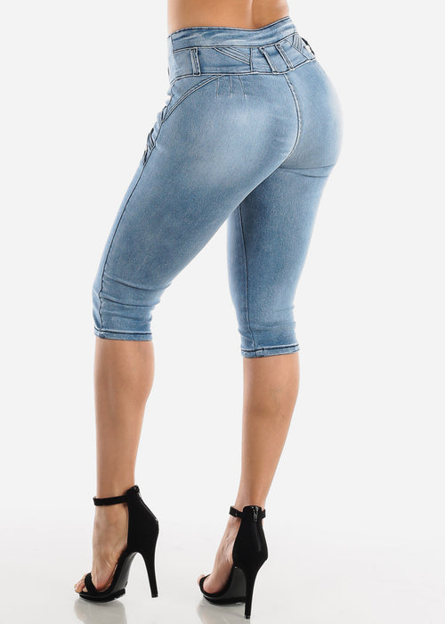 High Rise Light Wash Denim Capris