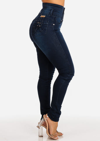 Image of Ultra High Waisted Dark Blue Butt Lift Skinny Jeans