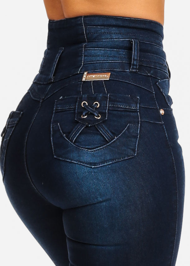 Ultra High Waisted Dark Blue Butt Lift Skinny Jeans