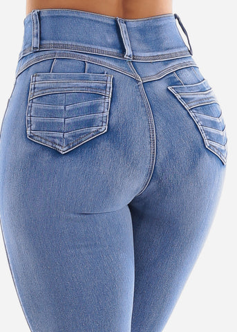 High Waist Bleached Denim Skinny Jeans