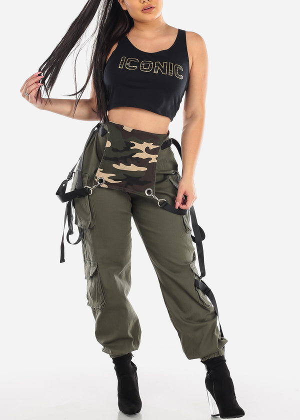 Sleeveless Cargo Style Olive Overall