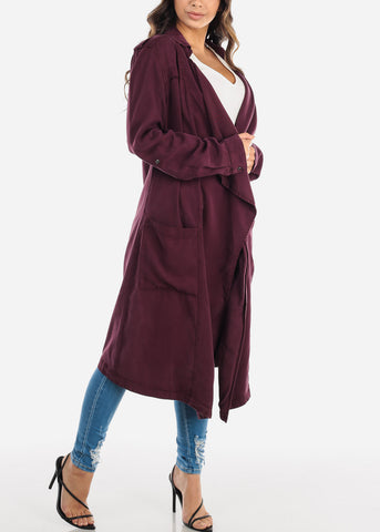 Image of Open Front Plum Coat