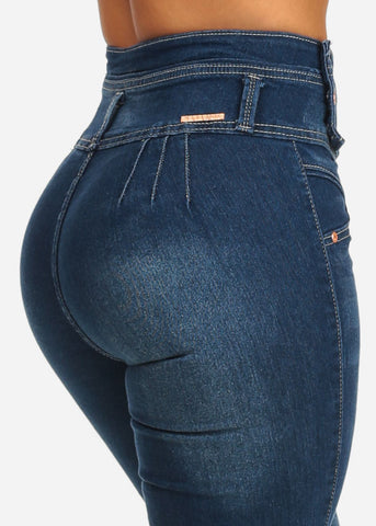 Image of Butt Lifting High Waist Straight Leg Med Jeans