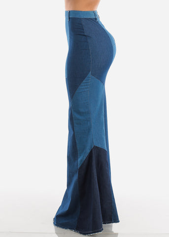 Denim Mermaid Maxi Skirt