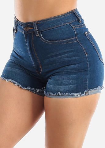 Image of High Waisted Med Wash Denim Shorts