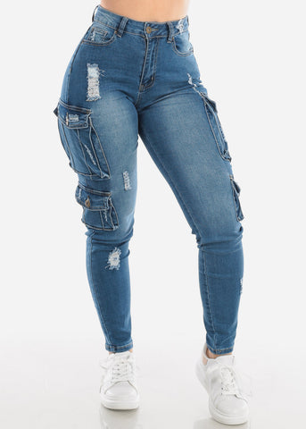 Denim Med Wash Cargo Jeans