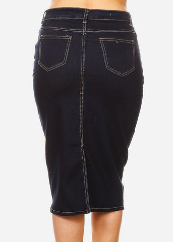 Image of Half Button Up Dark Denim Pencil Skirt