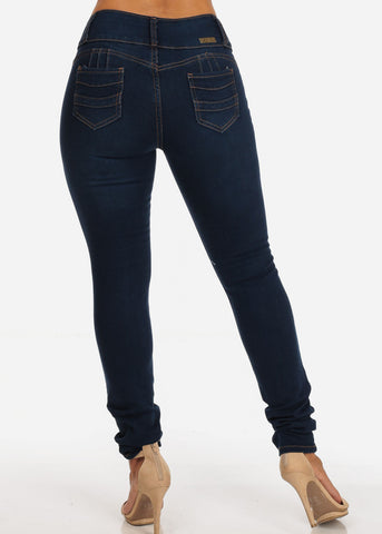 Distressed Levanta Cola Mid Rise Med Wash Skinny Jeans