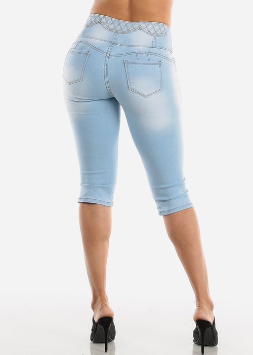 Rhinestone Design Torn Light Wash Denim Capris