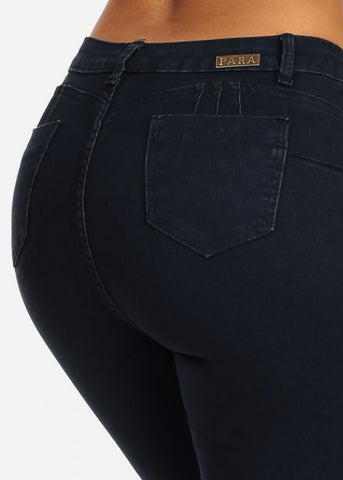 Image of Classic One Button Levanta Cola Dark Wash Skinny Jeans