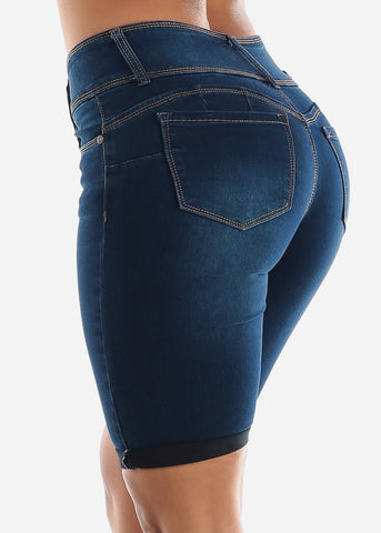Image of Levanta Cola Dark Denim Bermuda Shorts