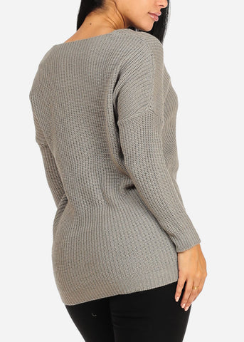 Image of Cozy Grey Knitted Sweater Top