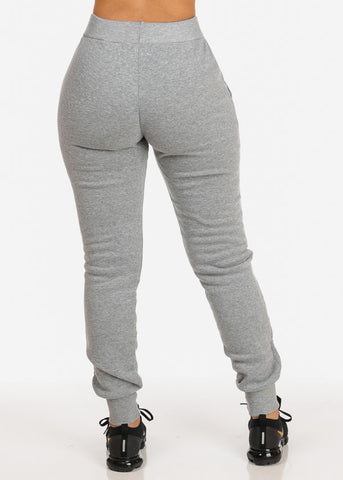 High Rise Grey Jogger Pants