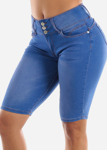 Image of Butt Lifting Blue Denim Bermuda Shorts