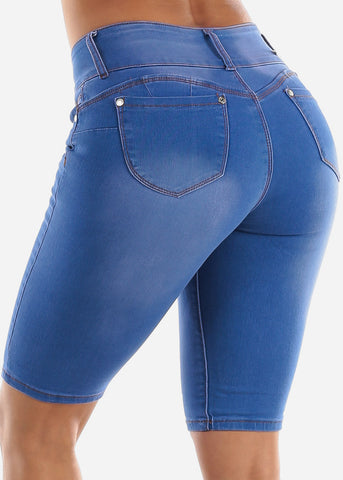 Butt Lifting Blue Denim Bermuda Shorts