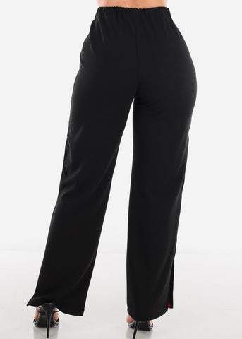 Pearl Stripe Detail Black Pants