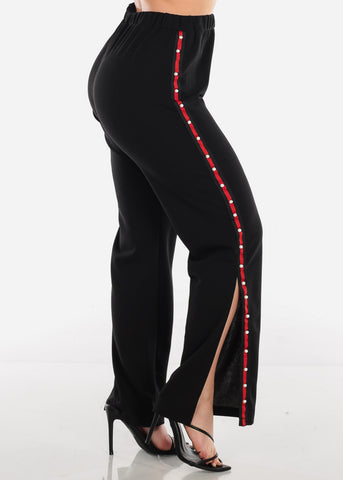 Image of Pearl Stripe Detail Black Pants