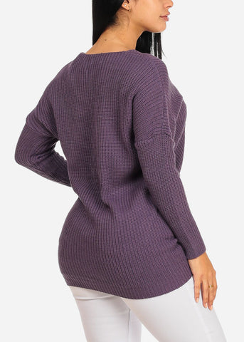 Image of Purple Knitted V Neckline Sweater