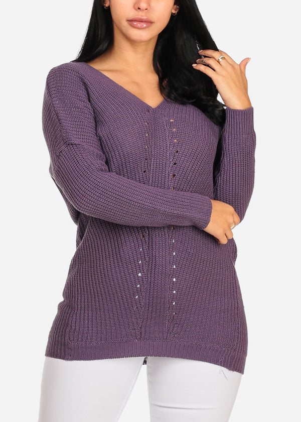 Cozy Purple Knitted V Neckline Long Sleeve Sweater Top